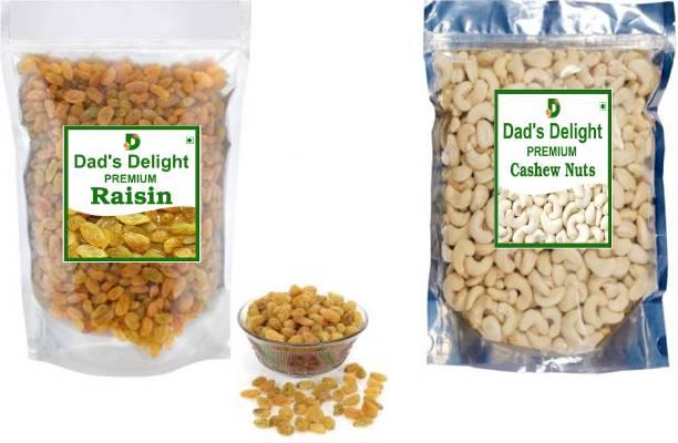 Dad's Delight Premium Cashew 200gm + Premium Raisins 200gm ( Kaju + Kishmish) Cashews, Raisins