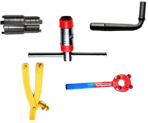 gizmo 5 Pieces Repairing Tool Set Hero Honda & CD100 Motorbike Made on CNC Machine -Magnet/Flywheel Puller, Clutch Nut Spanner,Timing Grary Set, 4Pin Clutch Holder, Magnet holder Tool Hand Tool Kit
