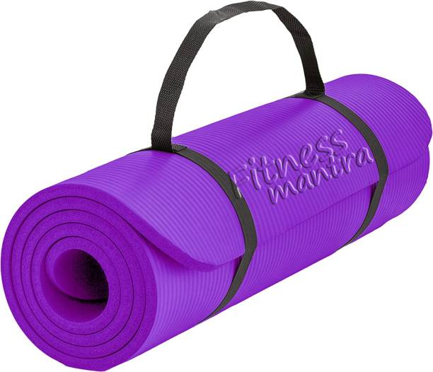 Fitness Mantra Dual Side Embossed Anti-Skit Yoga Mat with Strap Purple 6 mm Yoga Mat