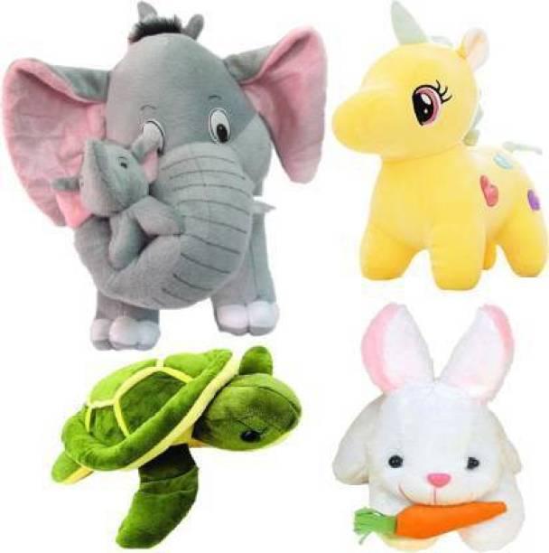 Shanshu combo of 4, mother elephant, unicorn, rabbit, turtle Plush toy for kids, gift & decoration (teddy bear)  - 25 cm