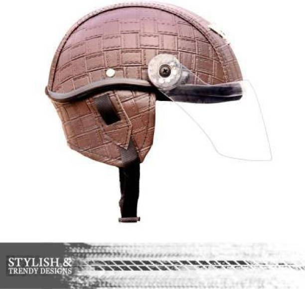RDX BROWN MINI LETHER CAP Motorbike Helmet