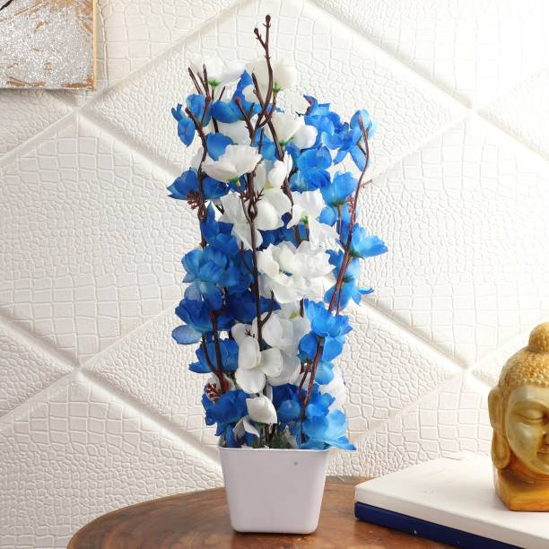 Flipkart Perfect Homes Artificial Flowers with White Pot for Home Décor and Gifting White, Blue Orchids Artificial Flower  with Pot