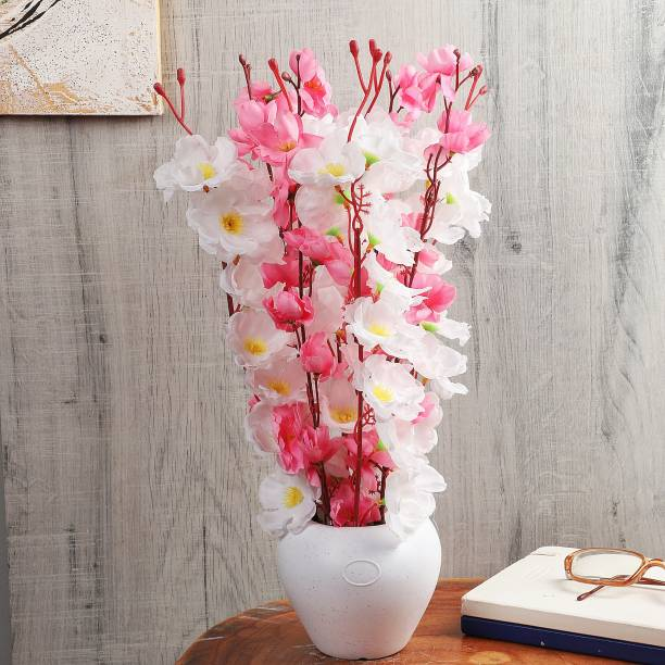 Flipkart Perfect Homes Artificial Flowers with White Pot for Home Décor and Gifting White, Pink Orchids Artificial Flower  with Pot