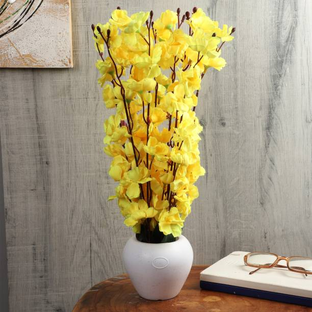 Flipkart Perfect Homes Orchid Artificial Flowers with White Pot for Home Décor and Gifting Yellow Orchids Artificial Flower  with Pot
