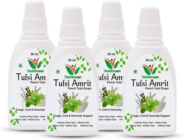 vaddmaan Tulsi Amrit - 1 x 30 ml (Pack of 4) - Panch Tulsi Ark Drops - Pure Organic Concentrated Extract of 5 Rare Tulsi for Natural Immunity Boosting & Cough and Cold Relief (120 ml)