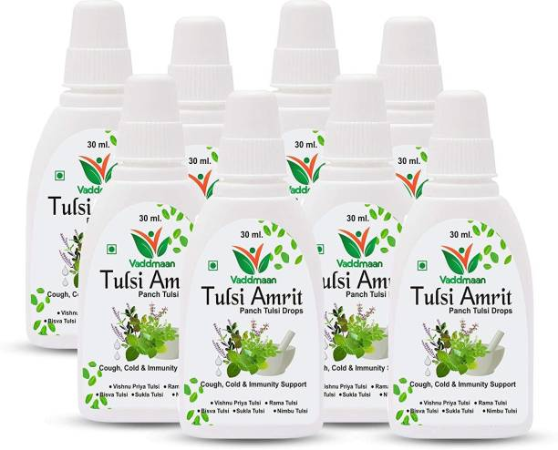 vaddmaan Tulsi Amrit - 1 x 30 ml (Pack of 8) - Panch Tulsi Ark Drops - Pure Organic Concentrated Extract of 5 Rare Tulsi for Natural Immunity Boosting & Cough and Cold Relief (240 ml)