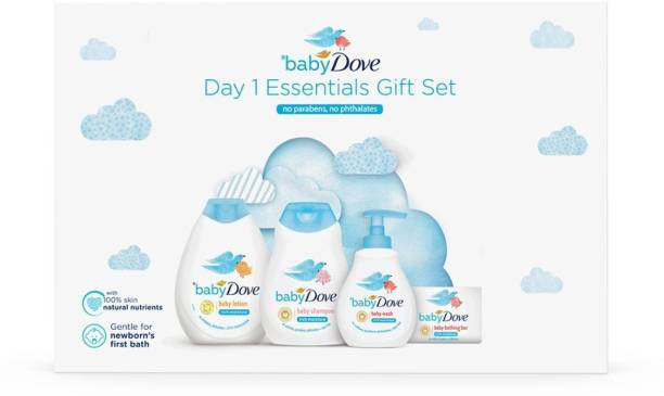 baby Dove Day 1 Essentials Gift Set of 400 ml Packs With Baby Soaps (Combo Pack)