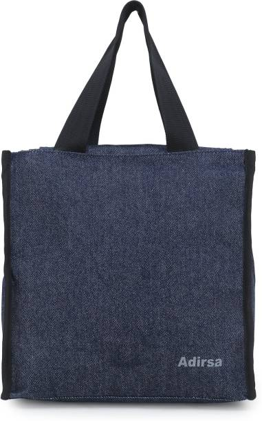 ADIRSA LB3005 NAVY BLUE Lunch Bag for Office Men, Women and Kids, Leak Proof Water Resistant Polyester Made Lunch Tiffin Bag for School, Picnic, Work, Carry Bag for Lunch Box Waterproof Lunch Bag