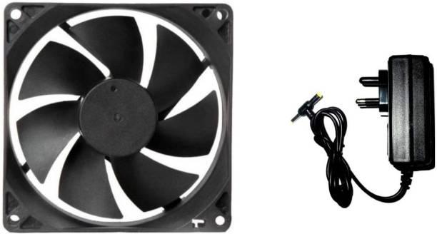TechSupreme DC FAN 1 Cabinet Fan - 80X80X25MM (12 VOLT) Cooler with 12v/2 AMP Adaptor SMPS Cooler Cooler