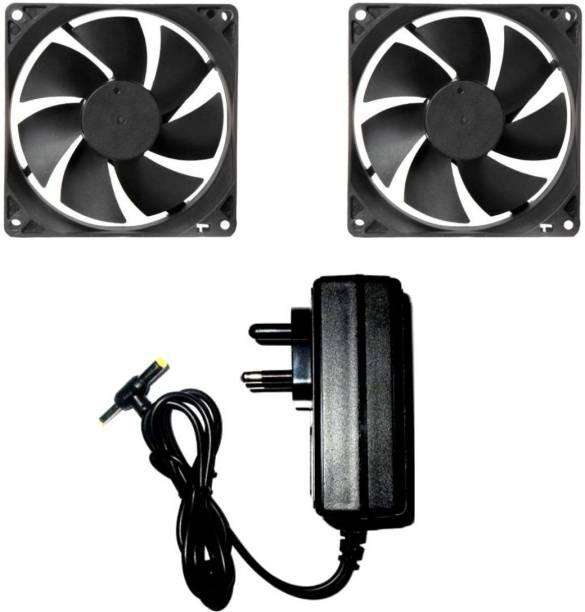 TechSupreme DC FAN 2 Cabinet Fan - 80X80X25MM (12 VOLT) Cooler with 12v/2 AMP Adaptor SMPS Cooler Cooler