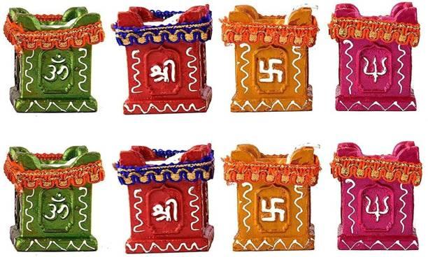 Collectible India Diwali Tulsi Diya Terracotta Mitti Diyas for Pooja Wax Candles For Diwali Home Decoration Terracotta (Pack of 8) Table Diya Set