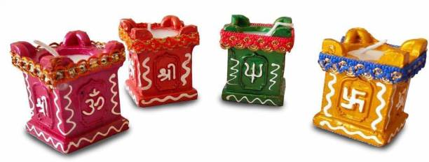 Collectible India Diwali Tulsi Diya Terracotta Mitti Diyas for Pooja Wax Candles For Diwali Home Decoration Terracotta (Pack of 4) Table Diya Set