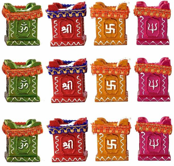 Collectible India Diwali Tulsi Diya Terracotta Mitti Diyas for Pooja Wax Candles For Diwali Home Decoration Terracotta (Pack of 12) Table Diya Set