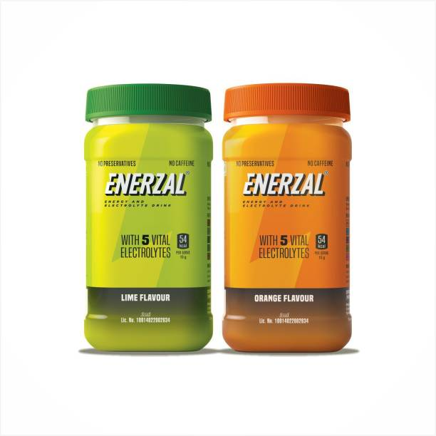 Enerzal Pack of 2 Combo Lime & Orange Flavour Jar Container 500 gm Each Energy Drink