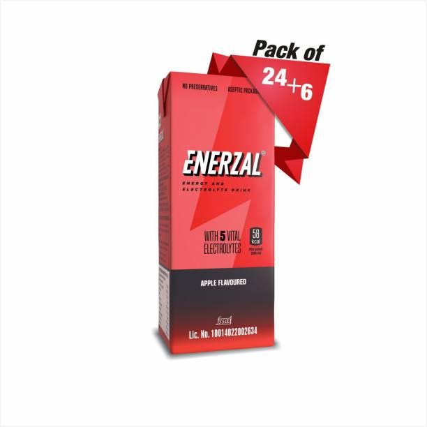 Enerzal Energy Dink Apple Flavour Tetra Pack 200ml Each (Buy 24 pack get 6 pack free) Energy Drink