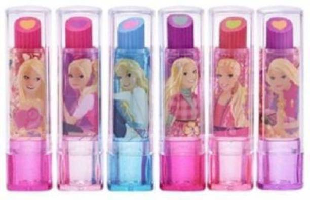 AMB Lipstick Style Eraser (Multicolour) Pack of 6 Non-Toxic Eraser (Set of 6, Multicolor) Non-Toxic Eraser