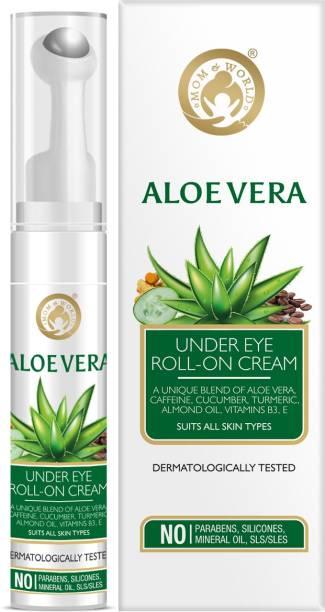 Mom & World Aloe Vera Under Eye Roll On Cream - With Caffeine, Cucumber, Tumeric, Almond Oil - No Parabens, Silicones
