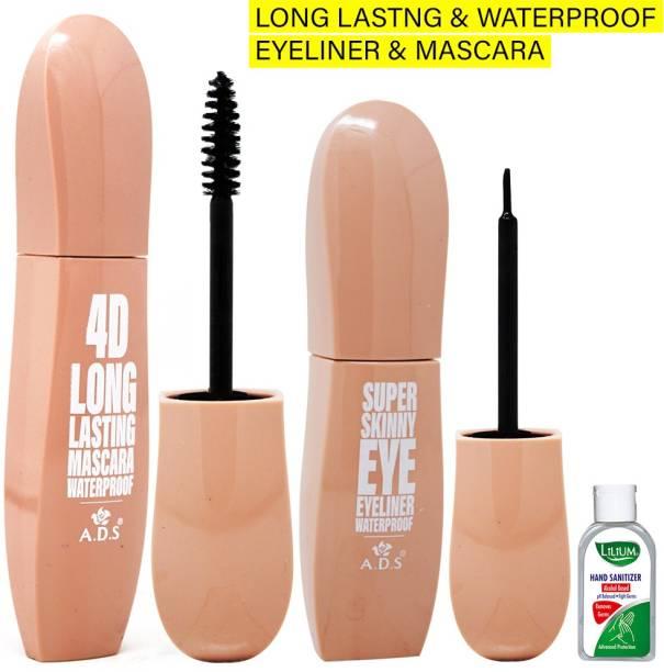 ads Long Lasting Waterproof Eyeliner & Mascara, Black, 8ml+10ml (1575) With Lilium Hand Cleanser 18 ml