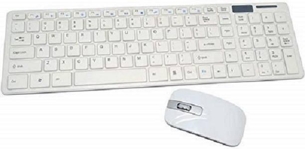 Mahantam Wireless Keyboard & Mouse Combo White Combo Set Wireless Multi-device Keyboard