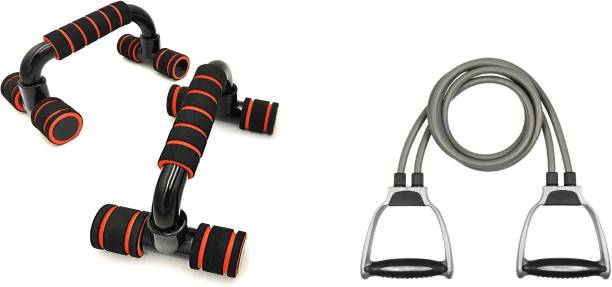 GJSHOP General ab exerciser workout toning tube with plastic pushup bar home, gym fitness combo kit Gym & Fitness Kit