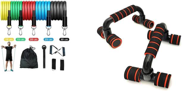 Shopeleven full body workout resistant tube kit 11 pcs set with pushup bar home, gym fitness combo kit Gym & Fitness Kit
