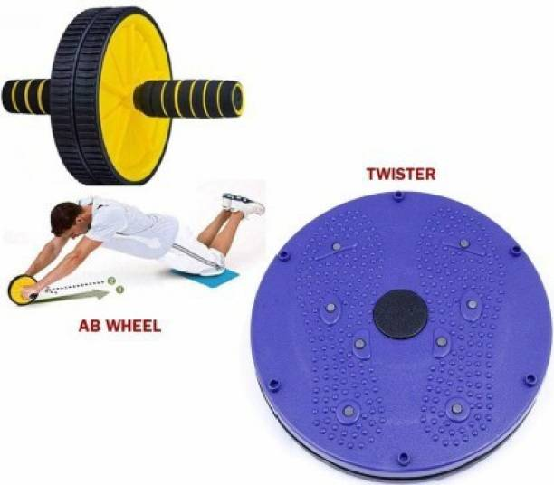 GJSHOP Combo of Tummy Twister, Ab Wheel for Stretching Toning Exercising Workout itness Equipment at Home Gym Kit Home Gym Kit