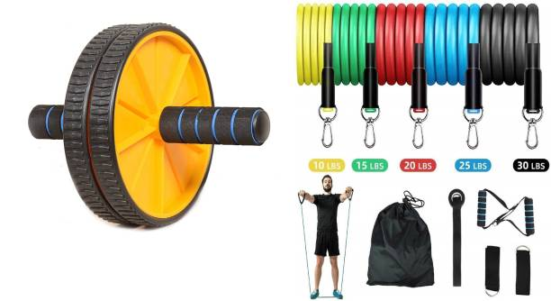 Shopeleven full body workout ab wheel & resistant kit 11 pcs set home, gym fitness combo kit Gym & Fitness Kit