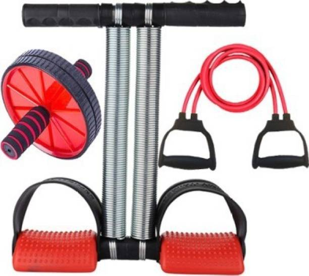 GJSHOP General ab exerciser workout tummy trimmer, ab wheel, toning tube home, gym fitness combo kit Gym & Fitness Kit