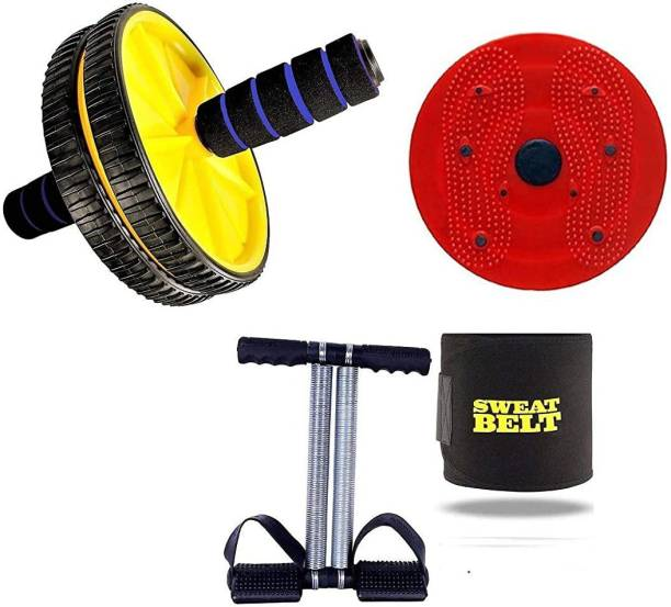 GJSHOP General ab exerciser workout tummy twister, trimmer, rollerand sweat belt home, gym fitness combo kit Gym & Fitness Kit