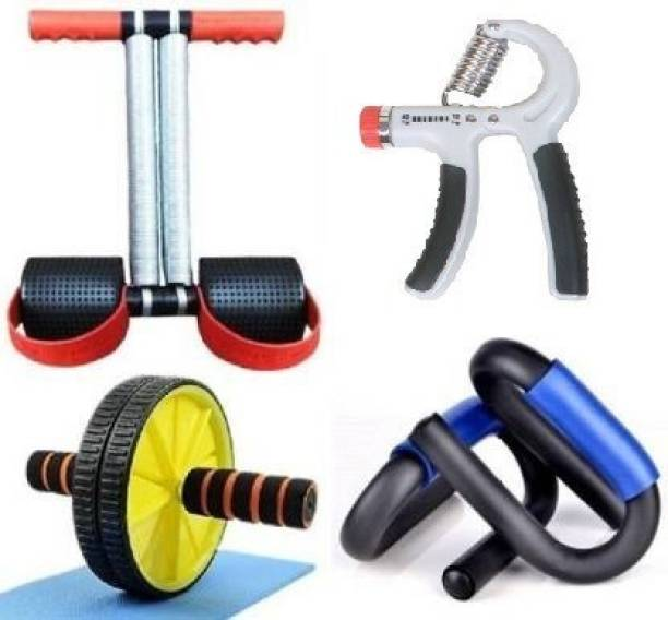 GJSHOP General ab exerciser workout tummy trimmer, roller with pushup bar and hand grip home, gym fitness combo kit Gym & Fitness Kit