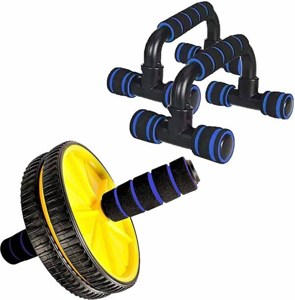 GJSHOP General ab exerciser workout ab wheel with plastic pushup bar home, gym fitness combo kit Gym & Fitness Kit