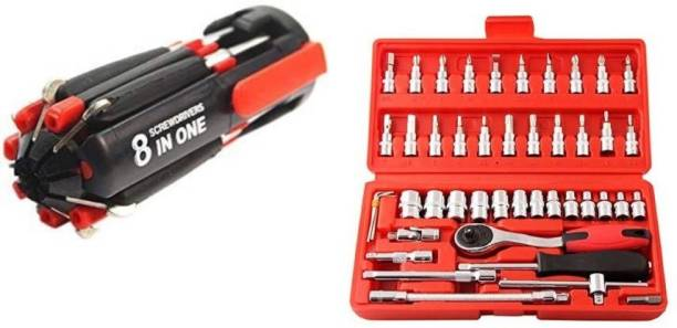vyas 46 Pieces, Red, Bit and Socket Set And 8 In One Multi-function Screwdriver With 6 LED Lihgts Portable Pocket Repair Hardware Tools kit Set Combination Screwdriver Set Hand Tool Kit