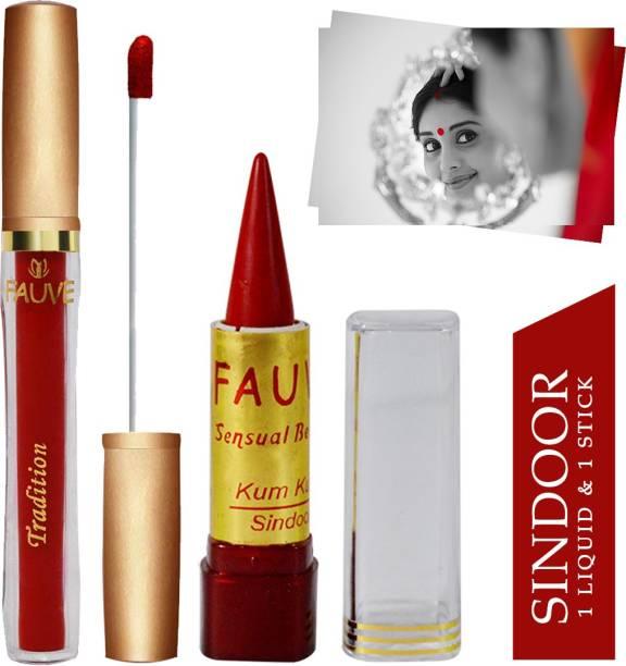 FAUVE Waterproof & Long Lasting Liquid & Stick Sindoor, Red, 7ml+3g, Pack of 2 Sindoor