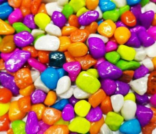 MASHKI Multi Coloured 1 kg Decorative Stones River Pebbles for Flowerpot, Garden and Aquarium Decoration Painted Asymmetrical Marble Pebbles