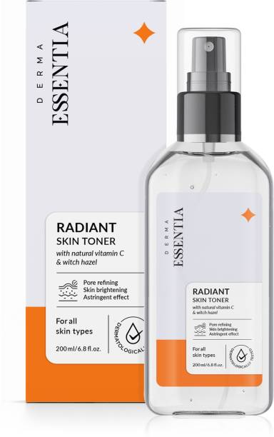 DERMA ESSENTIA Vitamin C Radiant Skin Toner with Witch Hazel for Pore tightening & Face Toner for Glowing Skin | For All Skin Types Men & Women