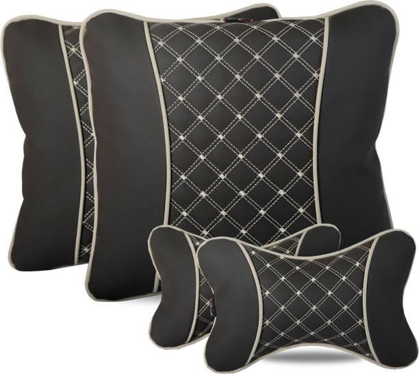AutoFurnish Maroon Leatherite Car Pillow Cushion for Universal For Car
