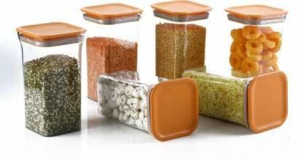 Kreyam's Orange-KitKat-1100ML-6Pcs  - 1100 ml Polypropylene, Plastic Utility Container