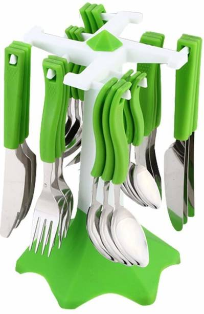 KB Sells 24 Pcs Stainless Steel Cutlery Set/ Spoon Set with Stand for Dining/Spoon and Fork Set/Spoon Stand Holder (Green) Plastic, Stainless Steel Cutlery Set