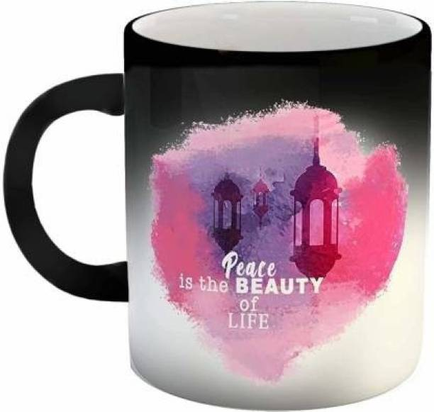 """V Kraft """"peace is the beauty of life magic mug """" quote Ceramic magic with Handle-Perfect Gift to Anyone On Any Occasion 