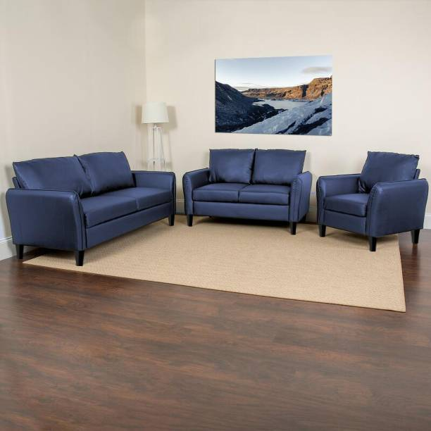 SHAKURALIVING DUSHANE Leather 3 + 2 + 1 BLUE Sofa Set