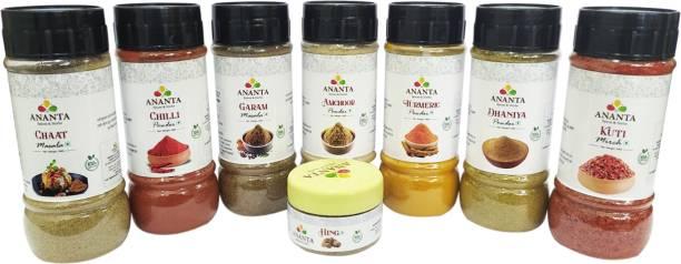 ananta spices & herbs Combo of Haldi ,Dhania ,Lal Mirch ,Kuti Mirch,Amchoor,Garam Masala,Chaat Masala (100gEach)& Hing(20g)
