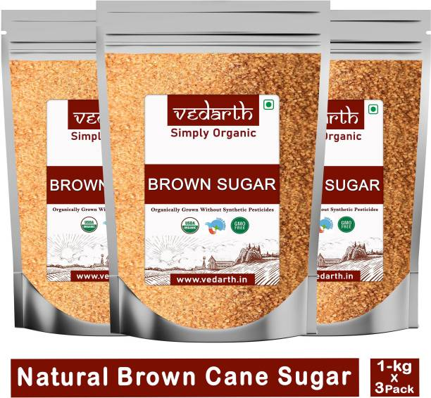 Vedarth Organic Brown Sugar 100% Natural Pack of 3 (1 Kg Each) Sugar