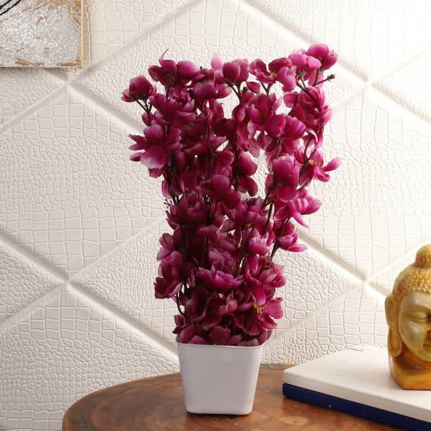 Flipkart Perfect Homes Artifical Flowers for Home Decor Purple Cherry Blossom Artificial Flower  with Pot
