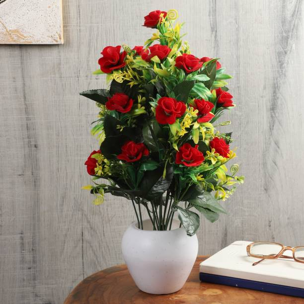 Flipkart Perfect Homes Artifical Flowers for Home Decor Red Rose Artificial Flower  with Pot
