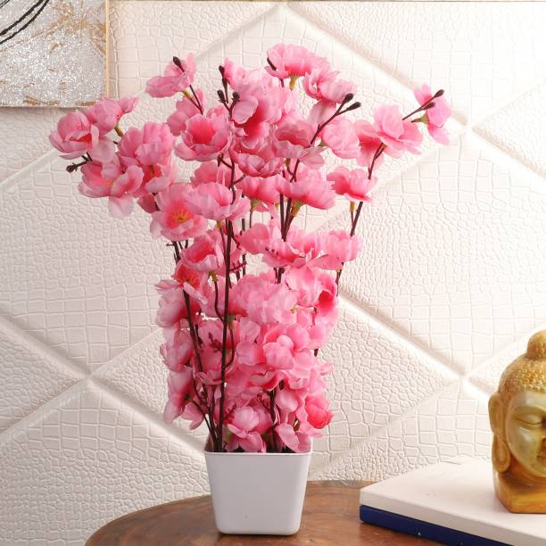 Flipkart Perfect Homes Artifical Flowers for Home Decor Pink Cherry Blossom Artificial Flower  with Pot