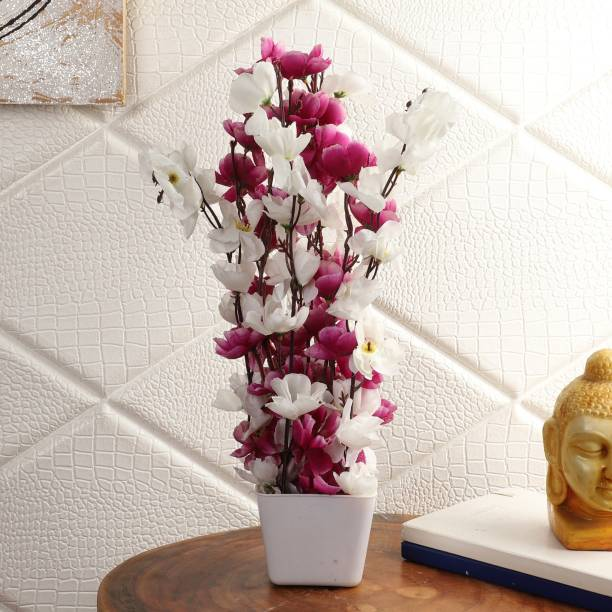 Flipkart Perfect Homes Artifical Flowers for Home Decor Purple, White Cherry Blossom Artificial Flower  with Pot