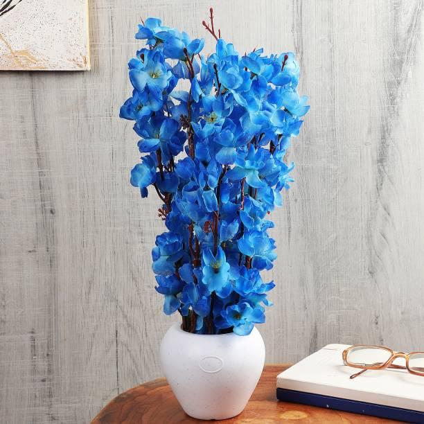 Flipkart Perfect Homes Artifical Flowers for Home Decor Blue Cherry Blossom Artificial Flower  with Pot