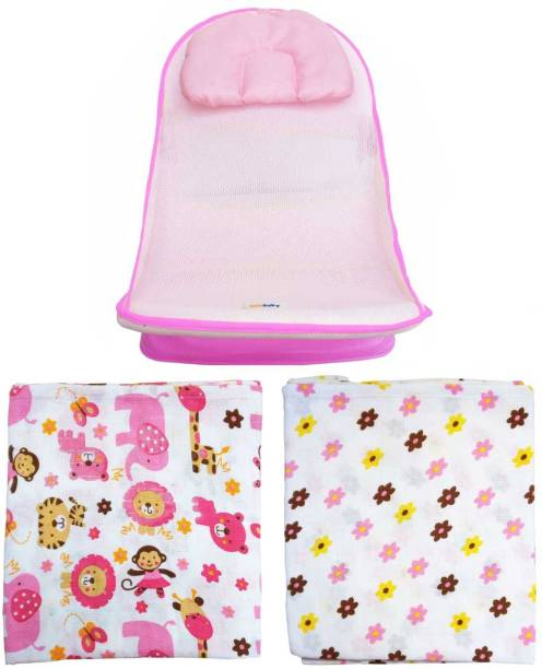 sunbaby JUMBO COMBO of Deluxe Anti-slip Bather Seat with Padded Cushion for Bathing with Soft Swaddle Set of 2