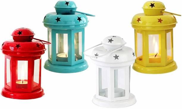 IMRAB CREATIONS Star Hanging Lantern/Lamp with Tealight Multicolor Iron Hanging Lantern