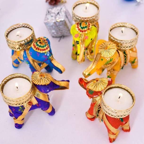 Fashion Bizz Handicraft Hathi/Elephant Tea-Light Holder Cotton Tealight Holder Set